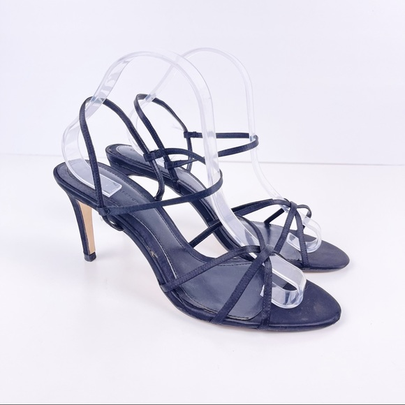Zara Black Strappy Slingback Sandals Size 10